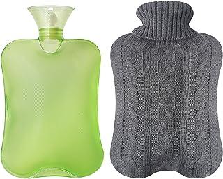 بطری آب گرم شفاف لاستیک Attmu کلاسیک 2 لیتر با پوشش گره - سبز