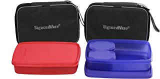 Signoraware Compact Lunch Box with Bag Set, 1.05 litres, Set of 2, Multicolour