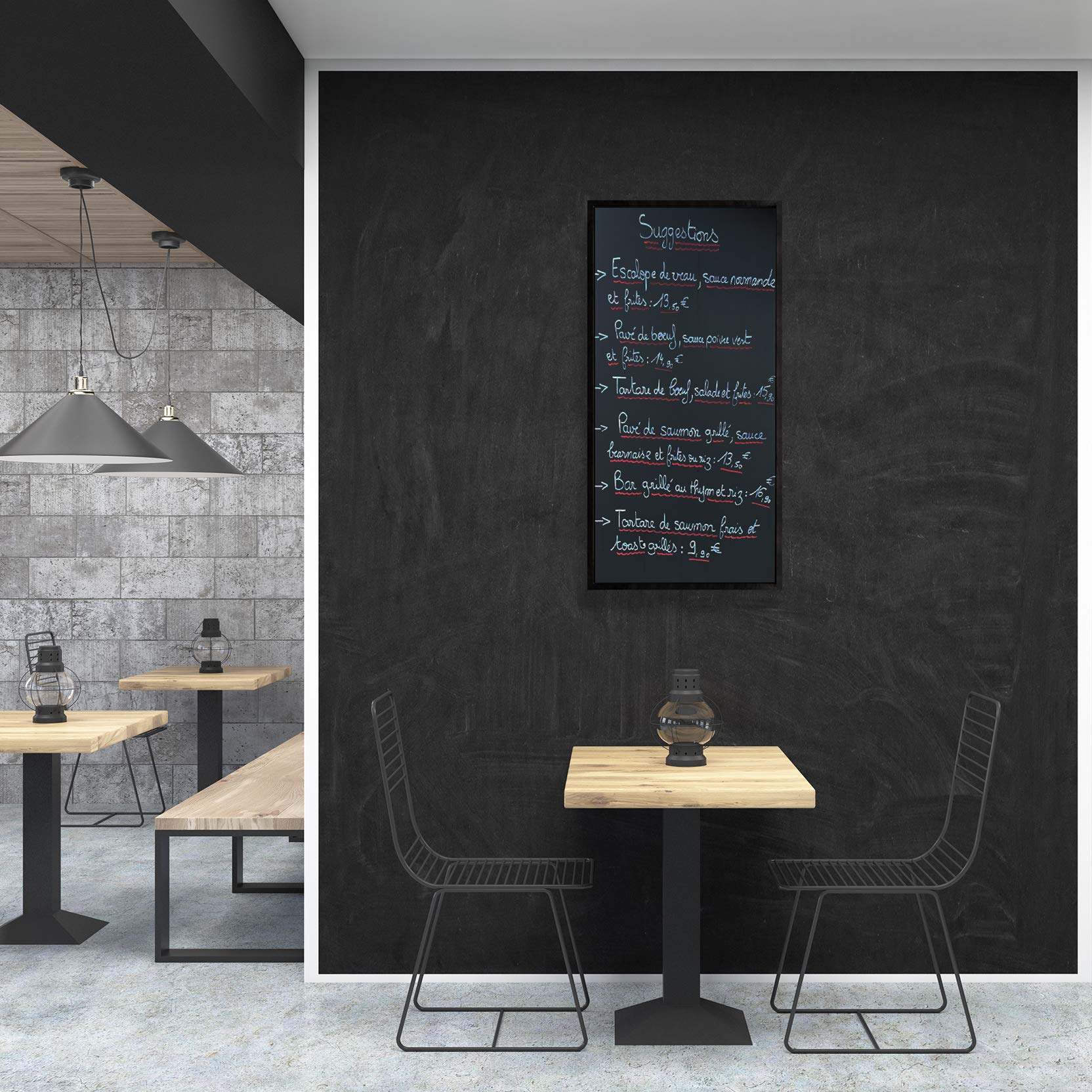 HDF   with chalk and a string for hanging   for kitchens shops ...