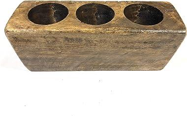 "JTW - Lot of 3 pcs - Quality and Craftsmanship - 3 Hole Wooden Sugar Mold Wood Candle Holder Primitive home decor ( 3.5"" x 10"