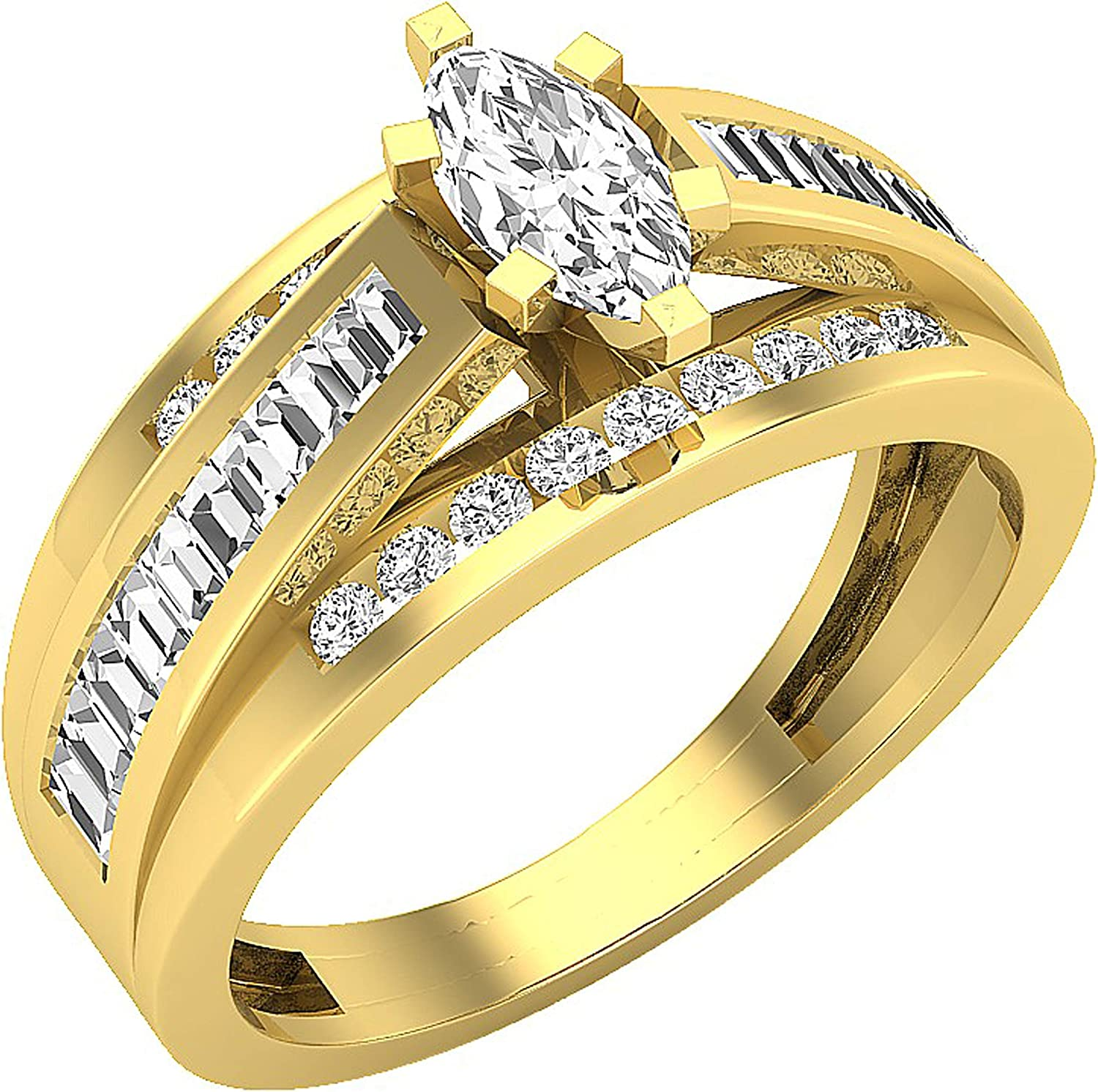 Dazzlingrock Collection 0.95 Carat ctw Marquise Baguette Special price for a limited time Superlatite Ro