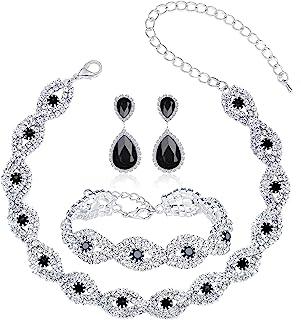 3-4 Pack Rhinestone Crystal Choker Necklace Tiara Crown Link Bracelet Teardrop Dangle Earrings Jewelry Sets for Women Girl...