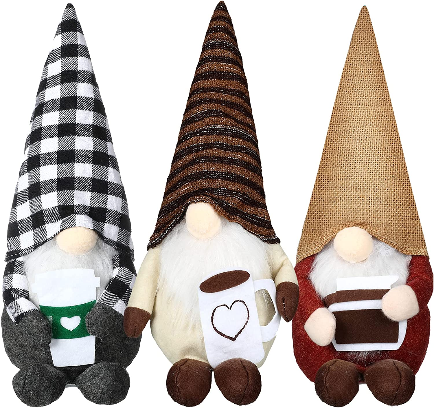 3 Pieces Coffee Gnome Bar Decor Award-winning store Plaid Some reservation Swedish Tomte