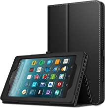 """MoKo Case for All-New Amazon Fire 7 2017 (7"""" Tablet, 7th Generation - 2017 Release Only) - Slim Folding Stand Cover Case for Fire 7 inch Tablet with Alexa, BLACK (with Auto Wake/Sleep)"""