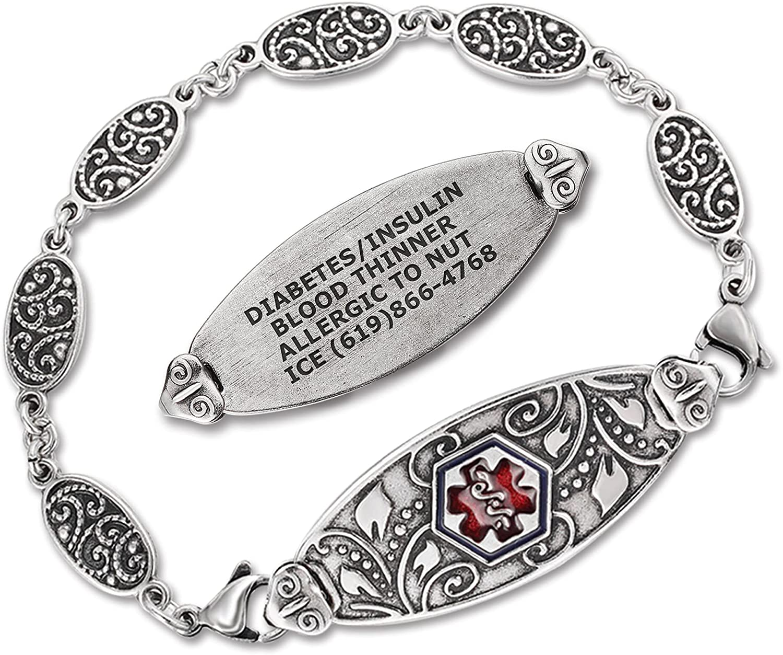 Divoti Custom Engraved Medical Alert Bracelets for Women, Stainl