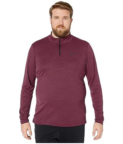 Nike Big Tall Superset Top Long Sleeve 1/4 Zip (Night Maroon/Black) Men