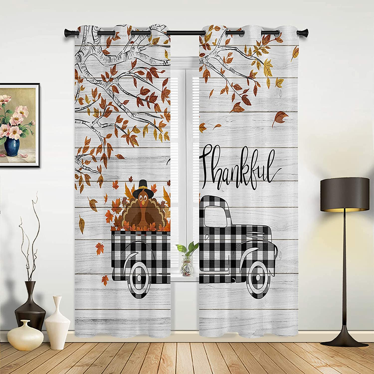 Window Sheer Curtains for Bedroom Sales Manufacturer regenerated product Happy Room Living Thanksgiving