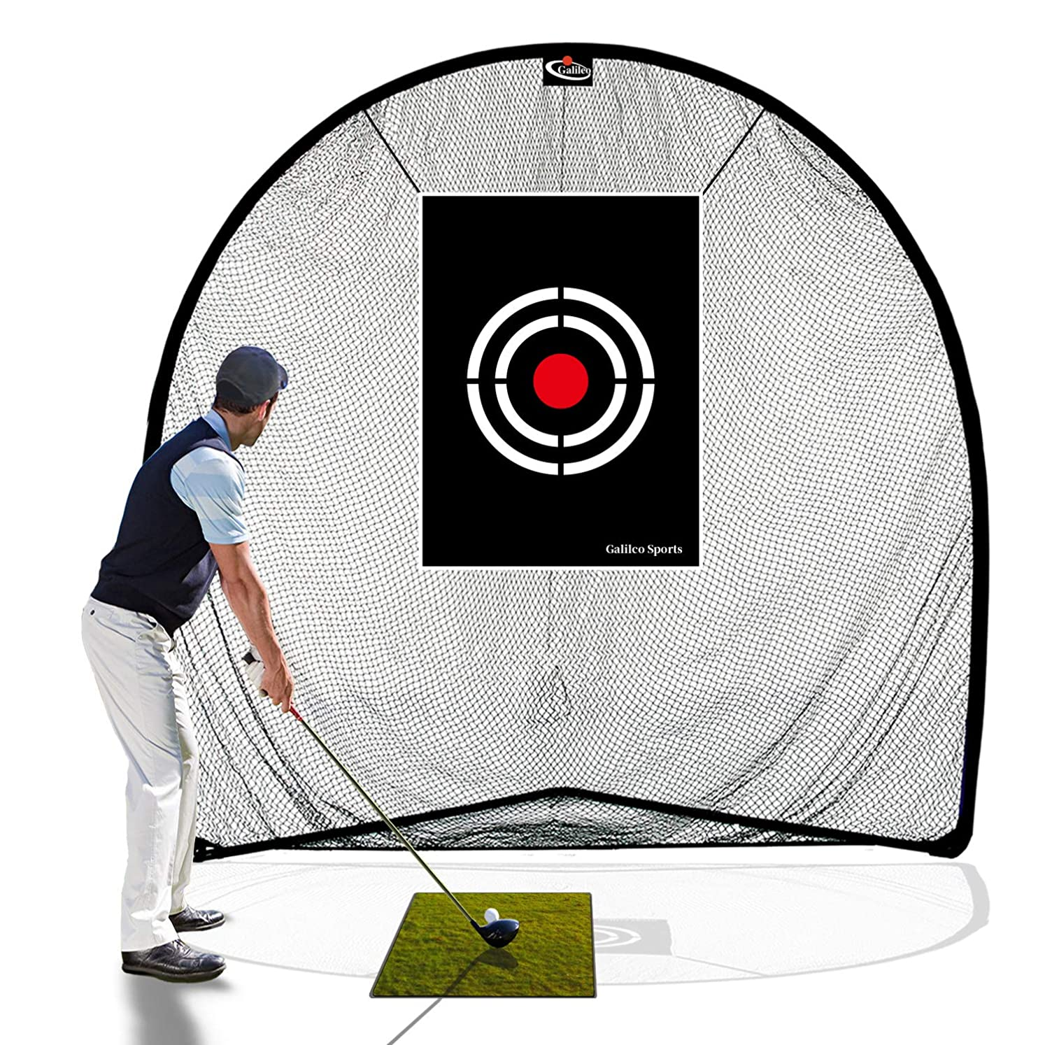 Galileo Golf Net Golf Hitting Nets for Backyard Driving Indoor Use 8'(L) X8'(H) X3'(W) Practice Portable Driving Range Indoor Golf Net Training Aids with Target and Carry Bag sdvjpsskf7662815