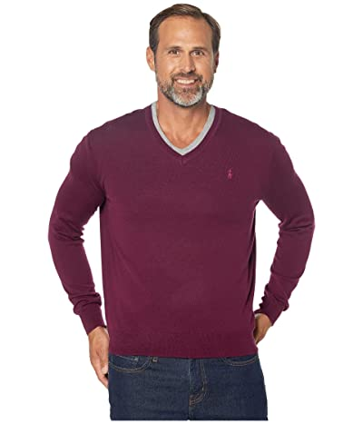Polo Ralph Lauren Washable Merino Wool V-Neck Sweater (Classic Burgundy) Men