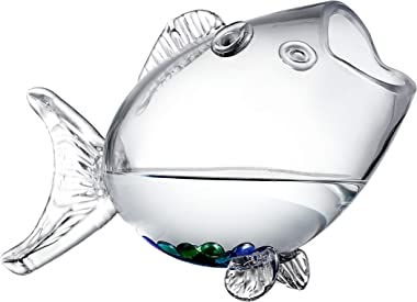 KMwares Clear Glass Decorative Fish Shaped Tank/Bowl/Vase/Storage Jar/Container for Bathroom/Living Room/Dinning Room (Medium
