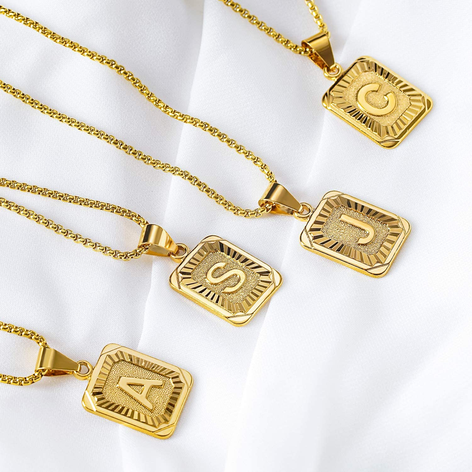 KissYan Initial Letter Pendant Necklace for Mens Womens 18K Gold Plated Square Capital Monogram Necklace Alhpabets from A-Z Box Figaro Chain Necklace