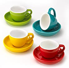 Espresso Cups and Saucers Set of 4 Assorted Vibrant Colors 3-Ounce Demitasse for Coffee Durable Porcelain
