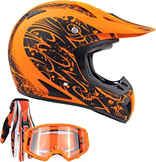 Typhoon Adult ATV MX Helmet Goggles Gloves Gear Combo Matte Orange w/Orange (XXL)