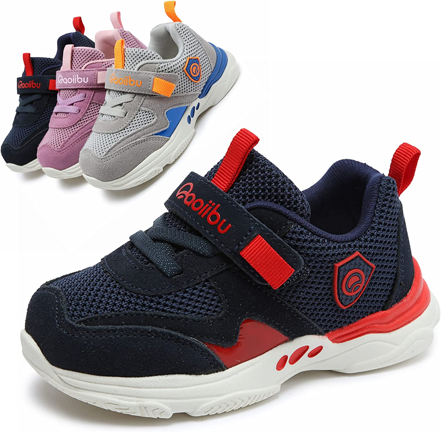Toddler Little Kids Shoes - Toddler 5 to Little Kids 11 Hook and Loop Strap Breathable Washable Sports Athletic Walking Running Sneakers for Unisex-Child Boys Girls