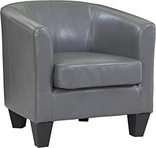 Grafton Leather Barrel Chair, One Size, Grey