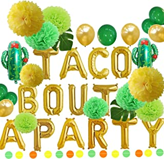 Green and Gold Taco Bout a Party Foil Cactus Balloons and Tissue Pom Poms Flowers Set Fiesta Party Theme Baby Shower Pregnancy Announcement Ideas Mexican Fiesta Theme Supplies