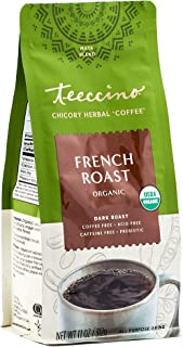 Teeccino Chicory Coffee Alternative – French Roast – Ground Herbal Coffee That's Prebiotic, Caffeine-Free & Acid Free, Dar...