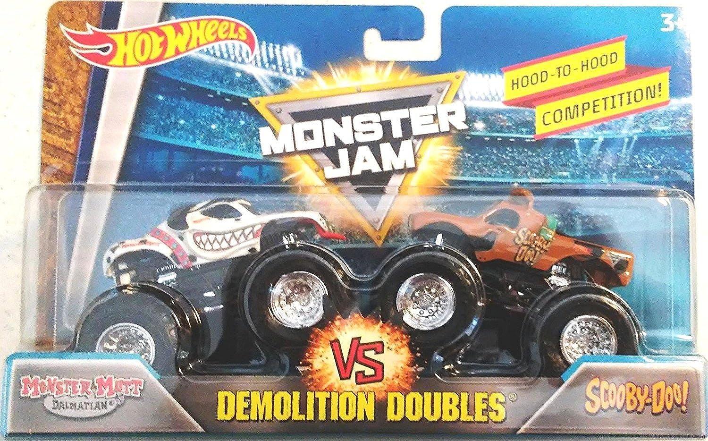 Hot Wheels Monster Jam 2018 Demolition Doubles Monster Mutt Dalmatian vs. Scooby Doo 1 64 Scale