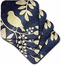 3dRose CST_39683_2 Ivory Bird on Navy Blue Soft Coasters, Set of 8