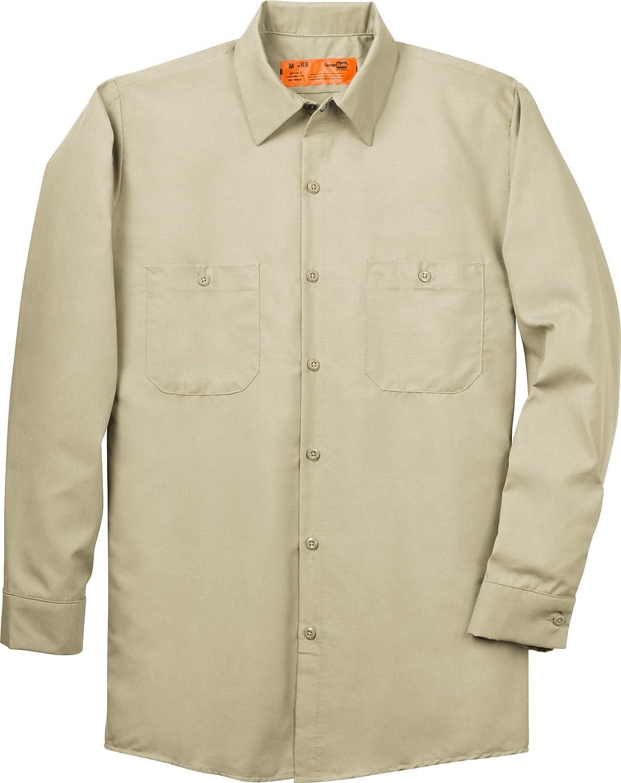 CornerStone - Long Sleeve Industrial Work Shirt. SP14 - L Regular - Light Tan