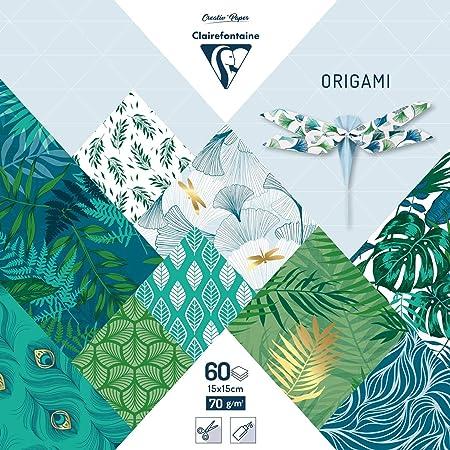 Clairefontaine 95354C - Une pochette origami 60 feuilles 15x15 cm 70g motifs assortis (30 motifs x 2 feuilles), Végétal chic