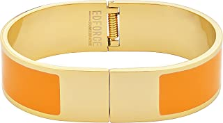 EDFORCE Stainless Steel Women's Gold Plated | H Shaped Buckle Bracelet | Bangle Colored Enameled Colored Stackable, 64mm Diameter (2.6in)