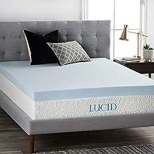 LUCID 4 Inch Gel Memory Foam Mattress Topper-Ventilated Design-Ultra Plush-King