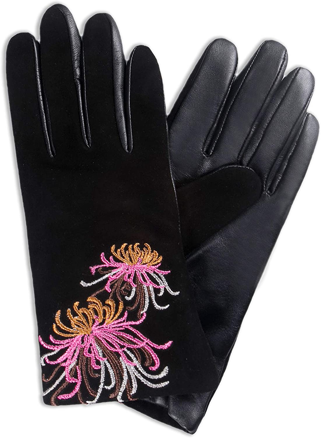 YISEVEN Women's Lambskin Suede Leather Gloves Thin Water Ripple Design