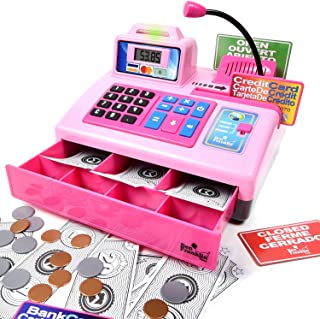 Ben Franklin Toys Talking Toy Cash Register - store learning play set with 3 languages, paging microphone, credit card, bank card and play money, Pink