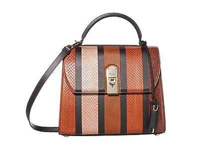 Salvatore Ferragamo Boxyz Patchwork Satchel (Dark Vicuna/Cumin/Caramel Spuntato) Satchel Handbags
