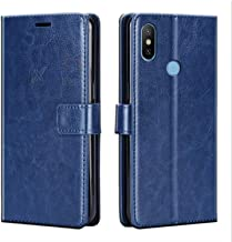 Xester® Vintage Leather Flip Cover Case Compatible with REDMI MI Y2 | Inner TPU | Foldable Stand | Magnetic Closure | Wallet Card Slots - Blue