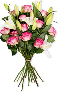 Benchmark Bouquets Light Pink Roses and White Oriental Lilies, No Vase (Fresh Cut Flowers), 1 Pound
