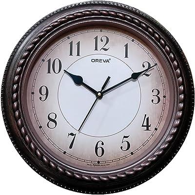 Oreva Plastic Wooden Look Designer Wall Clock (31.6 x 31.6 x 3.2 cm, Cola, AQ 5697)
