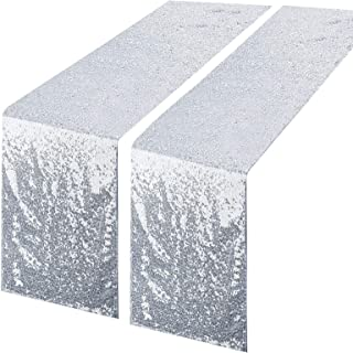 tiosggd Silver Glitter Table Runners, 2 Packs Sequin Fabric 12''x108'' Table Cloth Party Supplies for Baby Bridal Shower B...
