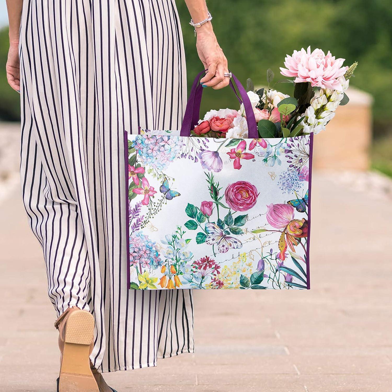 NymphFable 4 St/ück Einkaufstasche Wiederverwendbare Pfingstrose Schmetterling Einkaufsbeutel Waschbare Faltbare Damen
