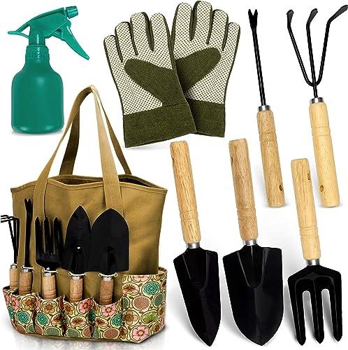 Scuddles Garden Tools Set - 8 Piece Heavy Duty Gardening Kit with Storage Organizer, Ergonomic Hand Digging Weeder Ra...
