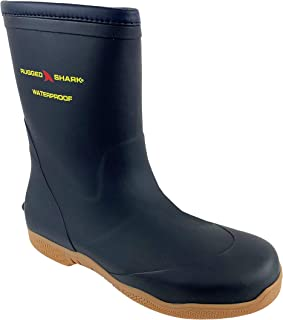 RUGGED SHARK Men`s Great White Fishing Deck Boots, Waterproof, Comfortable No-Slip Sole