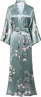 BABEYOND Damen Morgenmantel Maxi Lang Satin Sommer Kimono Blumen Muster Gedruckt Bademantel Kimono Strickjacke Damen Lange Robe Blumen Schlafmantel Girl Pajama Party