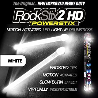 ROCKSTIX Blanco - LED LUZ Tambor Baquetas Firestix