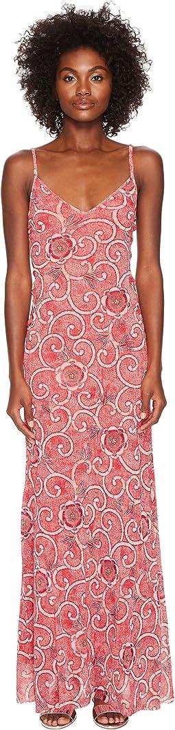 FUZZI Slip Dress Scroll Batik Print