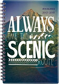 """at-A-Glance Academic Weekly/Monthly Planner, Insta-Note, July 2017 - June 2018, 4-7/8"""" x 8"""", Scenic Design (183A-200A)"""