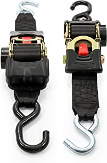 """Camco Heavy Duty Retractable Ratchet Tie Down Straps for Hauling and Transporting- 2"""" Width, Dual Hook, 2,500 lb Break Strength, Securely Tie Down Boats, ATVs, and More (50031)"""