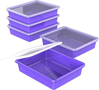 Storex Flat Storage Tray with Lid, Letter Size, 10 x 13 x 3 Inches, Violet, 5-Pack (62540U05C)