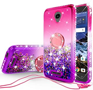 SOGA Rhinestone Liquid Quicksand Cover Cute Girl Phone Case Compatible for Alcatel IdealXTRA, Alcatel 1X Evolve(2018), Alcatel TCL LX Case,with Embedded Ring for Magnetic Car Mounts and Lanyard Pink