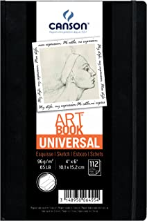 Canson Universal Art Book, Blank Acid Free Paper with Pocket, Elastic Closure and Stitch Binding, Hardbound, 65 Pound, 4 x 6 Inch, 112 Sheets