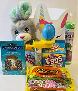 Easter Basket Gift Bag | 7 Inch Fuzzy Friends Pals ( May Vary), Reese's Peanut Butter Eggs, Dubble Bubble Eggs, M&M's Mini...