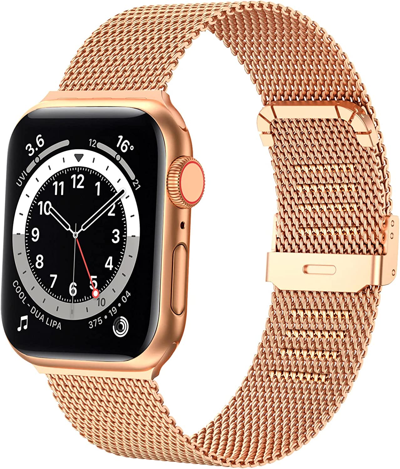 Dsytom Bands Compatible with Apple Watch Band 38mm 40mm 42mm 44mm, Stainless Steel Milanese Mesh Loop Band Metal Strap Replacement Compatible for iwatch Series 6 /5 /4/ 3 /2 /1/ SE Women Men -Multi Color