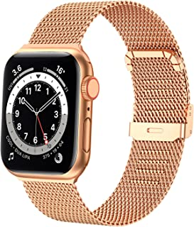 Bands Compatible with Apple Watch Band 38mm 40mm 42mm 44mm, Stainless Steel Milanese Mesh Loop Band Metal Strap Replacement Compatible for iwatch Series 6 /5 /4/ 3 /2 /1/ SE Women Men -Multi Color