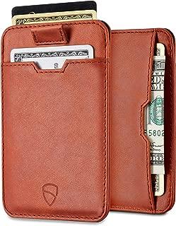 Vaultskin CHELSEA Slim Minimalist Leather Wallet for Men with RFID Blocking, Front Pocket Credit Card Holder (Cognac)