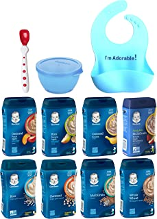 Gerber Baby Cereal Assorted Flavor Variety Pack: - Bundle of 8 - Stage 2, Toddler, Sitter